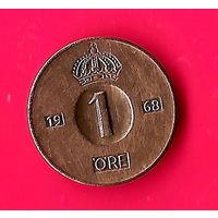 10-03 Швеция, 1 эре 1968 г. Единственное предложение монеты данного года на АУ