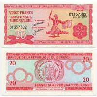 Бурунди. 20 франков (образца 2007 года, P27d, UNC)