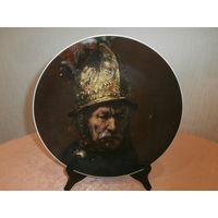 """Тарелка настенная большая фарфор художник Рембрандт """"Мужчина в золотом шлеме"""" Bareuther Bavaria Германия"""