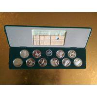 Канада 20 долларов 1986, 1987, 1988 г. Набор 10 монет Олимпиада Калгари. Серебро.