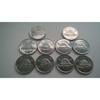 Канада 5 центов  погодовка (  10 монет одним лотом )