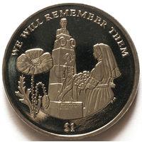 Британские Виргинские Острова 1 доллар 2014 года. Первая мировая война. Мемориал Эдит Кэвелл