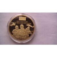 США юбилейная, сувенирная, позолоченная монета-медаль в честь уничтожения Бен Ладона. позолоченная.  распродажа