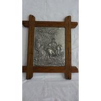 Панно в охотничьем стиле,барельеф ,Германия, олово,дерево 41,5 см*47см