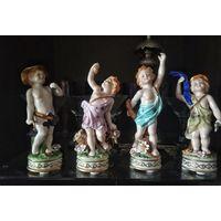 """Шикарные фарфоровые статуэтки 4 поры года .  клеймо ,,Meissen"""" мейсен"""