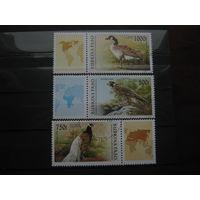 Марки - Буркина Фасо 1996 Фауна Птицы Пеликан 3 Марки Сцепки