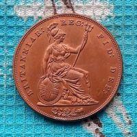 Великобритании 1 пенни 1855 года. Виктория. Состояние!
