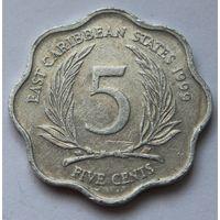 Восточные Карибы 5 центов, 1999 г.