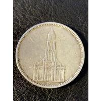 5 марок Германия D.(Третий Рейх) 1934 год.Серебро 900. Кирха. 119