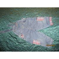 Утепленный джинсовый комбинезон, рост 74 см