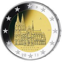 2 евро 2011 Германия D Федеральные земли Германии - Кёльнский собор UNC из ролла
