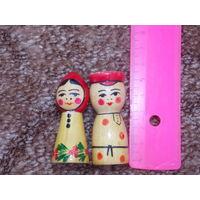 Матрешка ссср, парочка, деревянная игрушка, статуэтка.