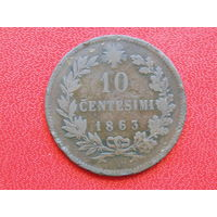 Италия 10 чентезимо 1863г.