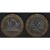 Франция _km964 10 франков 1992 год km964.1 (вар1)гурт.сегм (разн1)coin (f32)