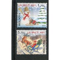 Молдавия Молдова 2014. С Новым годом ** Дед Мороз Снеговик