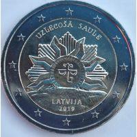 Латвия 2 евро 2019 Восходящее солнце UNC из ролла