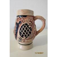 Бокал кружка пиво керамика Люксембург 90 мм 80мл  а3