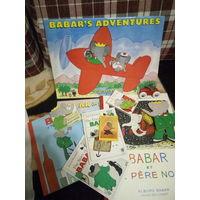 Жан же Брюнофф набор книг Приключения Бабара на английском языке и игрушек