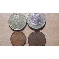 4 монеты еврозоны:разные номиналы и страны