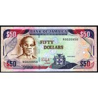 """Ямайка  50 долларов 2010г. """"Портрет Сэма Шарпа. """".  Состояние UNC .    распродажа"""
