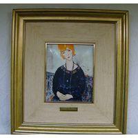 Модильяни. Женщина с ожерельем. Горячая эмаль. Сертификат. 31 х 34 см.