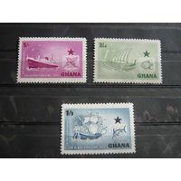 Марки - морской флот, Гана Транспорт Корабли и рыбы океана Серия MNH
