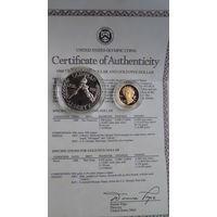 Комплект монет США 1 и 5 дол.Олимпиада в Лос-Анжелесе.1984г.