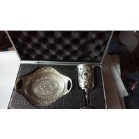Набор для причастия: чаша и блюдо в кейсе. (под серебро). 1 распродажа