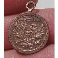 Интересный и необычный жетон, медальон, подвеска с монисто, двуглавый орёл с шапкой меркурия и крыльями, царский период, мануфактура!