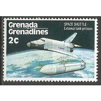 Гренада Гренадины. Полёт челнока. Сброс топливного бака. 1978г. Mi#255.