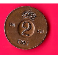18-04 Швеция, 2 эре 1968 г.
