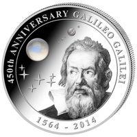 """Острова Кука 10 долларов 2014г. """"450 лет со дня рождения Галилео Галилея"""". Монета в капсуле; подарочном футляре; сертификат; коробка. СЕРЕБРО 62,20гр.(2 oz)."""