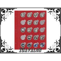 Лист Красный, для монет в капсулах D= 31 мм, Коллекционер КоллекционерЪ в альбом для капсул