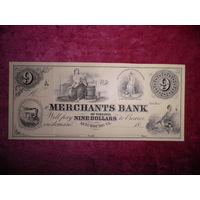 Купюра,банкнота США 9 долларов Merchants Bank of Virginia USA 1800-е г.