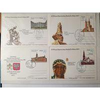 Почтовые карточки Польша 1987. Визит Папы римского. Спец гашение. 8 штук