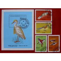 Мадагаскар. Птицы. ( Блок и 4 марки ) 1986 года.
