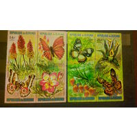 Насекомые, бабочки, фауна, флора, цветы, марки, Бурунди