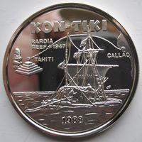 Самоа и Сисифо. 10 долларов 1988. Серебро (383)