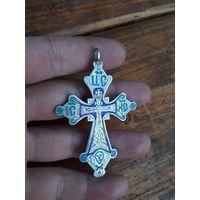 Крестик нательный большой старый Эмаль серебро 84