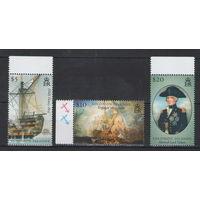 Соломоновы острова Парусники адмирал лорд Нельсон Трафальгарское сражение 2005 год чистая полная серия из 3-х марок