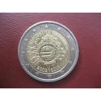 """2 евро Италия 2012 10 лет наличному евро """"глобус"""""""