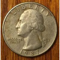 США, 25 центов (квотер) 1987 D