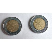 Италия 500 лир, 1996 70 лет Национальному институту статистики  5-11-13*15