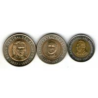 Эквадор. 3 монеты. 100,500,1000 сукре.