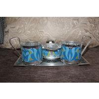 Алюминиевый набор  для чаепития,  времён СССР, в эмалях, хорошее состояние.