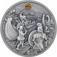 """Ниуэ 5 долларов 2020г. """"Битва при Саламине"""". Монета в капсуле; деревянном подарочном футляре; номерной сертификат; коробка. СЕРЕБРО 62,20гр.(2 oz)."""