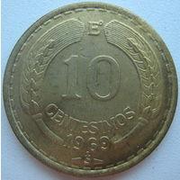 Чили 10 сентесимо 1969 г.
