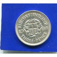 Великобритания 3 пенса 1938 , серебро