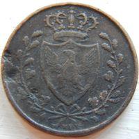 9. Сардиния 3 сентесимо 1826 год.