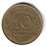 Франция. 10 сантимов. 1987 г.